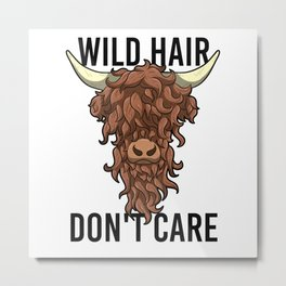 Wild Hair Don't Care Hipster Hairstyles Gift Metal Print