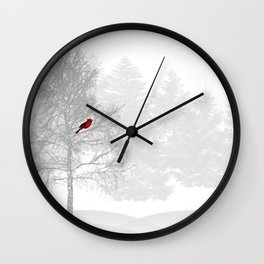 Red Cardinal in a Snowy White Forest Wall Clock
