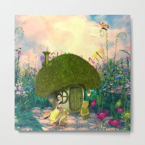 Cute fairy sitting on a mushroom Metal Print