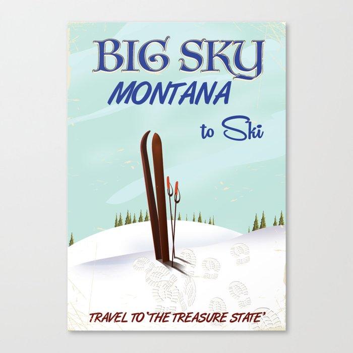 big sky montana ski vintage travel poster canvas print by