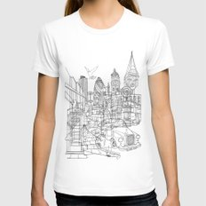 London! White Womens Fitted Tee LARGE