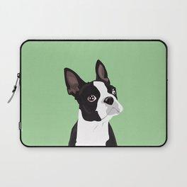Boston Terrier Portrait - Green Laptop Sleeve
