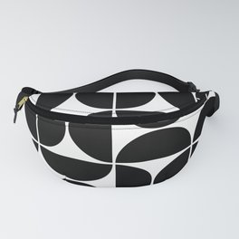 Mid Century Modern Geometric 04 Black Fanny Pack