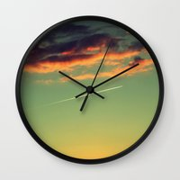 airplanes Wall Clocks featuring Sunset and Airplanes by Rafael Baumer