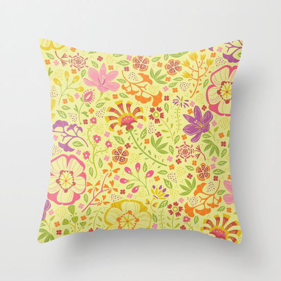 Oriental Blooms Throw Pillow