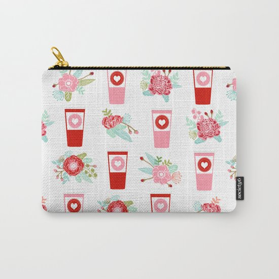Coffee floral bouquet painted flowers for valentines day gifts coffee lovers must haves Carry-All Pouch