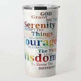 Colorful Serenity Prayer by Sharon Cummings Travel Mug