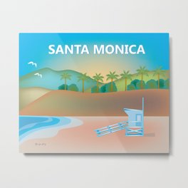 Santa Monica, California - Skyline Illustration by Loose Petals Metal Print