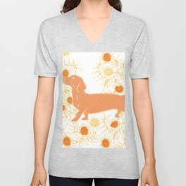 Frolicking sausage dog Unisex V-Neck