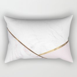 Marble Swirl Blush Pink & Bronze Rectangular Pillow