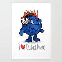 I Love Grunge Music! Art Print
