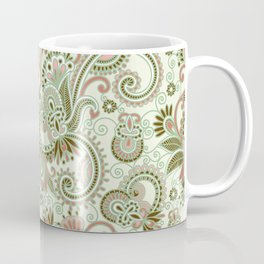 Oriental Persian Paisley, Swirls - Green Pink Coffee Mug