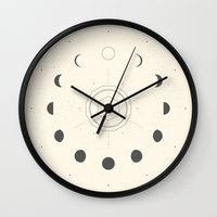 Wall Clocks featuring Moon Phases Light by Nayla Smith