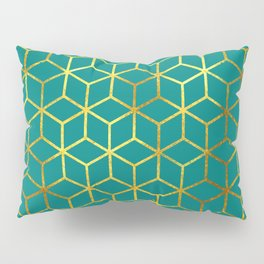 Teal and Gold Squares Pillow Sham
