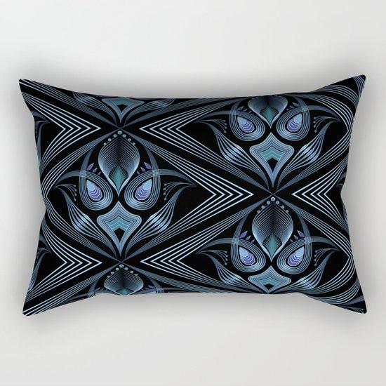 Art Deco 37. Black-blue satin . Rectangular Pillow