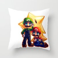 mario bros Throw Pillows featuring Mario Bros. by StephanieIllustrations