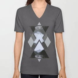 Landscape in Triangles Unisex V-Neck