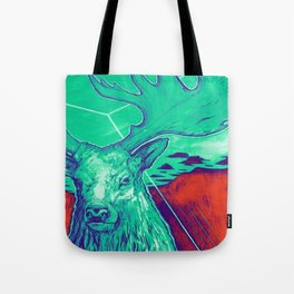 Stag Dimension of Teal Tote Bag