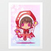 chibi Art Prints featuring Chibi Sakura by Neo Crystal Tokyo