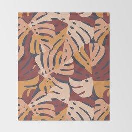 Color Block Monstera Leaves in Maroon Throw Blanket