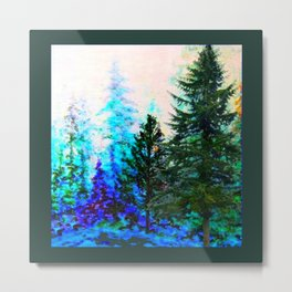 SCENIC BLUE MOUNTAIN GREEN PINE FOREST Metal Print