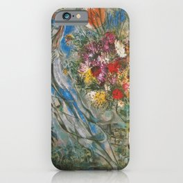 Lovers in Gray, French Riviera, Saint Tropez, Sunrise, floral landscape by Marc Chagall iPhone Case