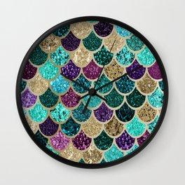 Mermaid Scales Decor, Teal, Purple, Gold Wall Clock