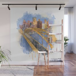 Pittsburgh Fort Pitt and Downtown Wall Mural