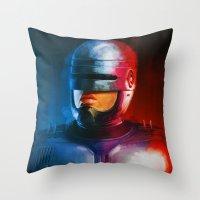 cyclops Throw Pillows featuring CYCLOPS by John Aslarona