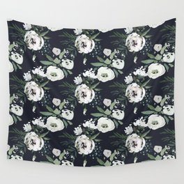 Blush pink white green black watercolor modern floral Wall Tapestry