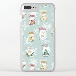 Christmas Jars Mint Clear iPhone Case