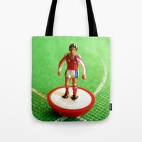 arsenal Tote Bags featuring Arsenal Subbuteo Player 1989 by Tabletop Legends