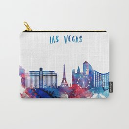 Blue and pink watercolor Las Vegas skyline Carry-All Pouch