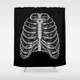 People front Bone silver  Shower Curtain