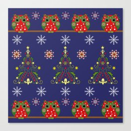 Pattern design with Christmas owls, trees and snowflakes Canvas Print