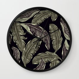 Jungle Leaves Pale Gold and Black Pattern Wall Clock