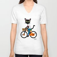 cycling V-neck T-shirts featuring Summer cycling by BATKEI