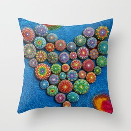 Mandala Stone Love Heart Throw Pillow