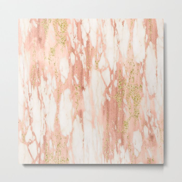 Rose Gold Marble - Rose Gold Yellow Gold Shimmery Metallic Marble Metal Print