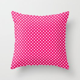 Small White Crosses on Hot Neon Pink Throw Pillow
