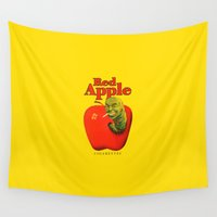 apple Wall Tapestries featuring Apple by FunnyFaceArt