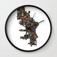 milwaukee Wall Clocks featuring Milwaukee by BigRedSharks