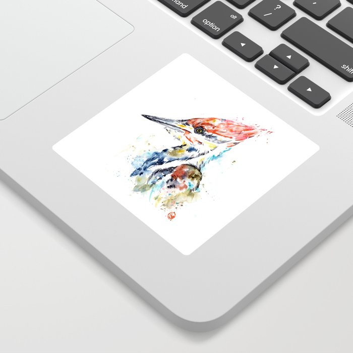 Woodpecker Colorful Watercolor Bird Painting Sticker
