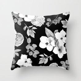 Night bloom - moonlit bw Throw Pillow
