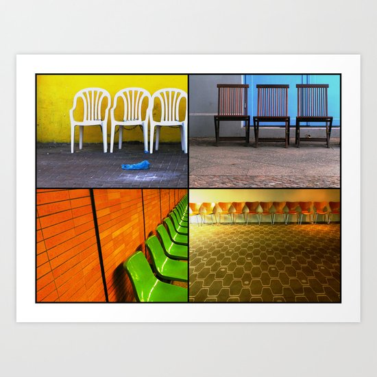 Chairs Collage Art Print