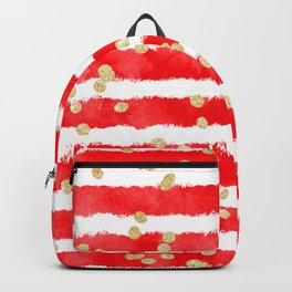 Modern red watercolor stripes gold confetti pattern Backpack