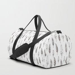 monochrome Feathers Duffle Bag