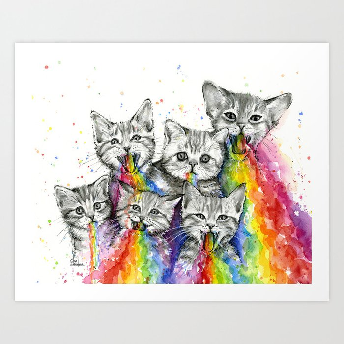 Kittens Puking Rainbows Art Print