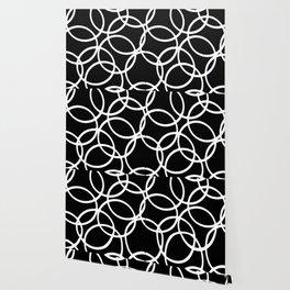 Interlocking White Circles Artistic Design Wallpaper