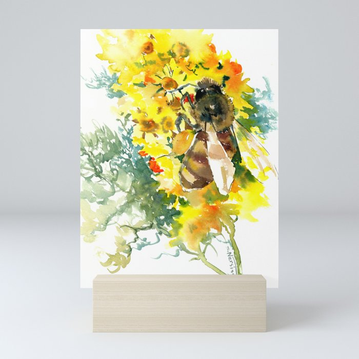 Honey Bee and Flower yellow honey bee design honey making Mini Art Print